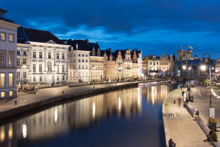 equinox: canal evening ghent Stock Photo