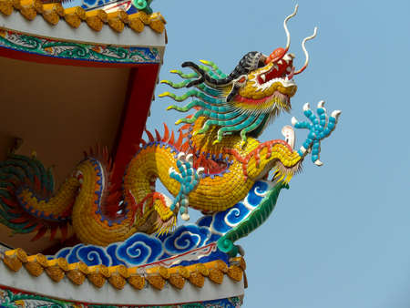 Chinese dragon on the roof of chinese temple