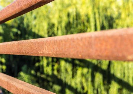 guard rail: Rusty metal guard rail Stock Photo