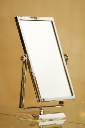 full length mirror: Rectangular mirror on a metal support Stock Photo