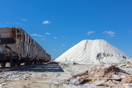 mined: Big pile of freshly mined salt, set against a blue sky