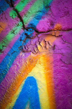 flagstone: photo flagstone painted with bright colors. closeup