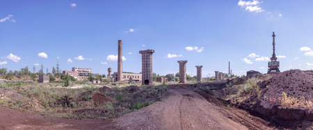 assembly hall: panoramic shot of the old factory ruins against the sky