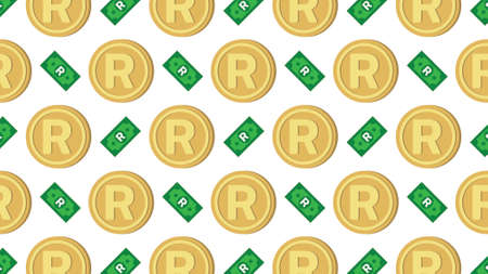 Currency icon pattern background coin and banknote : South African Rand ZAR bill, symbols, signs, emblems, wallpaper, Vector illustration wallpaper. Illusztráció