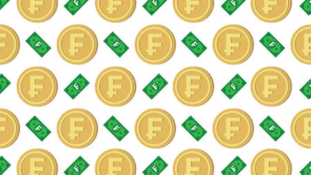 Currency icon pattern background coin and banknote : Swiss Franc CHF bill, symbols, signs, emblems, wallpaper, Vector illustration wallpaper. 일러스트