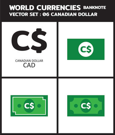 Currency icon Banknote : Canadian Dollar CAD bill, symbols, signs, emblems Vector illustration. 向量圖像