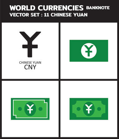 Currency icon Banknote : Chinese Yuan CNY bill, symbols, signs, emblems Vector illustration.