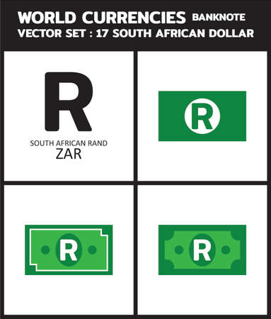 Currency icon Banknote : South African Rand ZAR bill, symbols, signs, emblems Vector illustration. 向量圖像