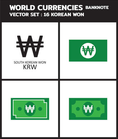 Currency icon Banknote : Korean won krw bill, symbols, signs, emblems Vector illustration.