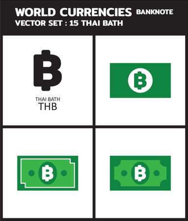 Currency icon Banknote : thai baht thb bill, symbols, signs, emblems Vector illustration.