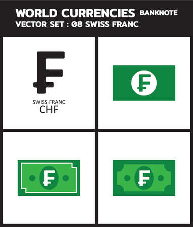 Currency icon Banknote : Swiss Franc chf bill, symbols, signs, emblems Vector illustration.