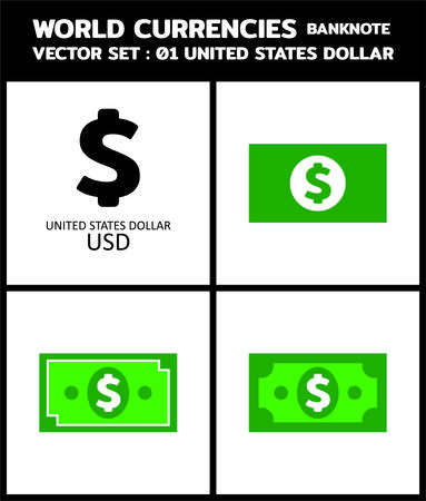 Currency icon Banknote : US Dollar USD bill, symbols, signs, emblems Vector illustration.