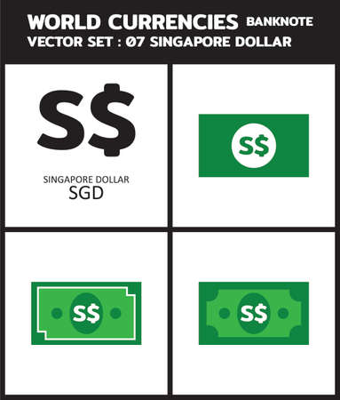 Currency icon Banknote : Singapore Dollar SGD bill, symbols, signs, emblems Vector illustration. 向量圖像