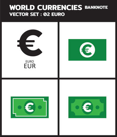 Currency icon Banknote : Europe Euro eur bill, symbols, signs, emblems Vector illustration. 向量圖像