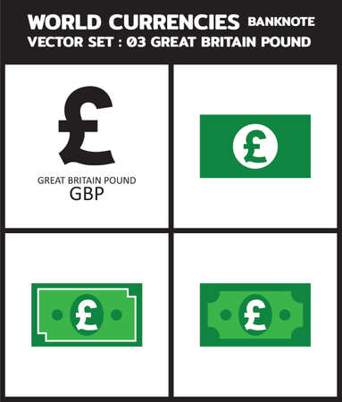 Currency icon Banknote : Great Britain pound sterling bill GBP, symbols, signs, emblems Vector illustration.