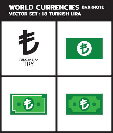 Currency icon Banknote : Turkish Lira TRY bill, symbols, signs, emblems Vector illustration.