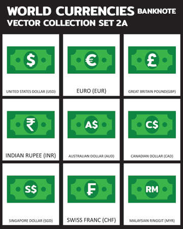Currency vector Banknote Set 3 COLORS  bill, symbols, signs, emblems Vector illustration.