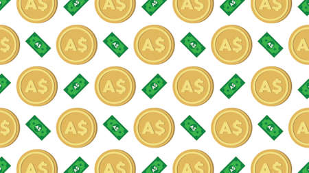 Currency icon pattern background coin and banknote : Australian Dollar AUD bill, symbols, signs, emblems, wallpaper, Vector illustration wallpaper.