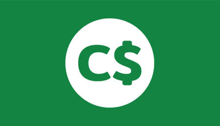 Simple Currency icon Banknote sign in green : Canadian Dollar CAD bill vector illustration 向量圖像