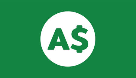 Simple Currency icon Banknote sign in green : Australian Dollar bill AUD vector illustration
