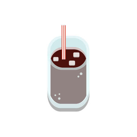 3D flat design style Food and drinks elements : iced cold cola drink in transparent glass icon isolated on white background illustration in vector