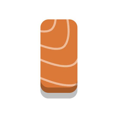 3D flat design style Japanese food : Nigiri Sushi or nigiri sushi of fresh raw Salmon sashimi slice icon isolated on white background illustration in vector