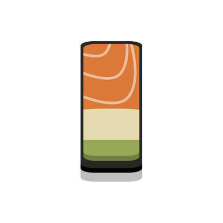 3D flat design style Japanese food : Battleship roll or Gunkanmaki sushi of fresh raw Salmon and avocado icon isolated on white background illustration in vector 向量圖像