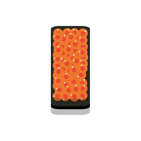 3D flat design style Japanese food : Battleship roll or Gunkanmaki sushi of fresh raw Salmon roe eggs or Ikura icon isolated on white background illustration in vector 向量圖像