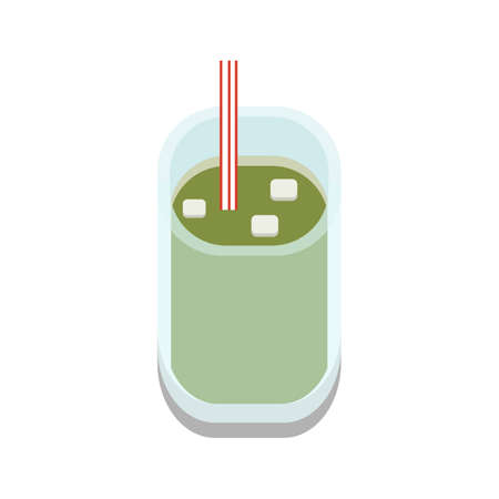 3D flat design style Japanese food : iced cold Green tea or Matcha in transparent glass icon isolated on white background illustration in vector