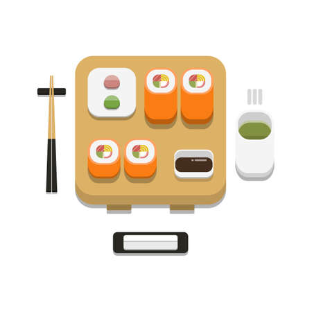 3D flat design style Japanese food : Sushi set of tobiko California maki roll with soy sauce wasabi ginger chopsticks hot towel and hot green tea icon isolated on white background illustration