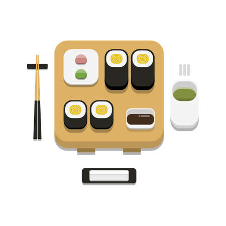 3D flat design style Japanese food : Sushi set of Tamagoyaki maki roll with soy sauce wasabi ginger chopsticks hot towel and hot green tea icon isolated on white background illustration in vector 向量圖像