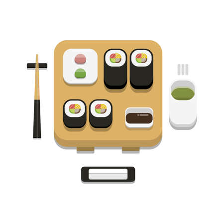 3D flat design style Japanese food : Sushi set of Futomaki roll with soy sauce wasabi ginger chopsticks hot towel and hot green tea icon isolated on white background illustration in vector Illustration