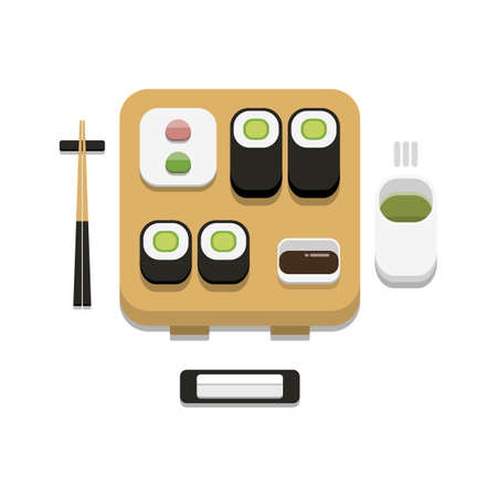 3D flat design style Japanese food : Sushi set of Cucumber or kyuri maki roll with soy sauce wasabi ginger chopstick hot towel and hot green tea icon isolated on white background illustration in vector 向量圖像