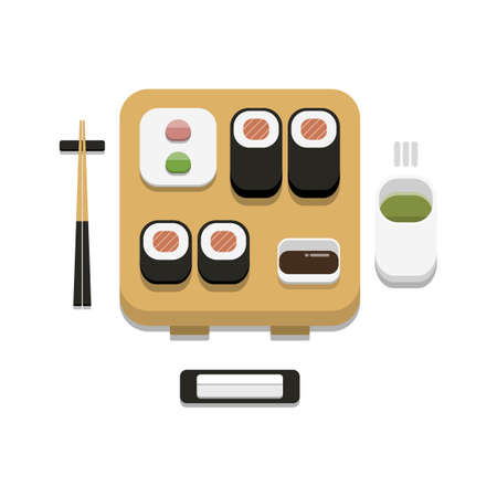 3D flat design style Japanese food : Sushi set of Salmon maki roll with soy sauce wasabi ginger chopsticks hot towel and hot green tea icon isolated on white background illustration in vector