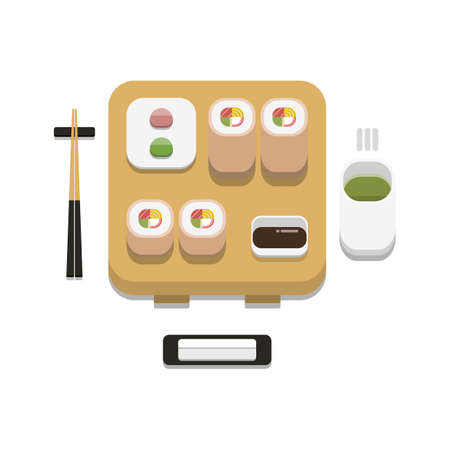 3D flat design style Japanese food : Sushi set of white Sesame California maki roll with soy sauce wasabi ginger chopsticks hot towel and hot green tea icon isolated on white background illustration