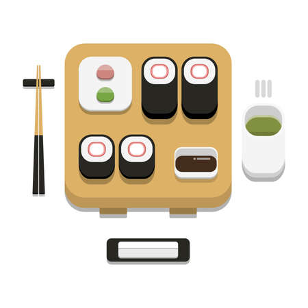 3D flat design style Japanese food : Sushi set of Imitation crab stick or kanikama roll with soy sauce wasabi ginger chopsticks hot towel and hot green tea icon isolated on white background