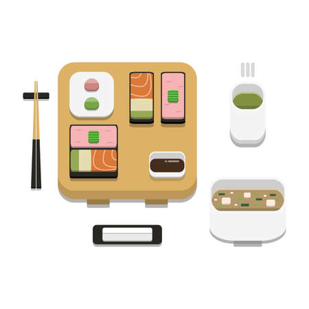 3D flat design style Japanese food : Sushi set of Mixed Gunkanmaki or battleship roll with soy sauce wasabi ginger chopsticks hot towel and hot green tea icon isolated on white background illustration
