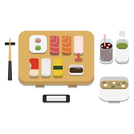 3D flat design style Japanese food : Sushi set of Mix Assorted Nigirizushi or nigiri with soy sauce wasabi ginger chopsticks hot towel and hot green tea icon isolated on white background illustration