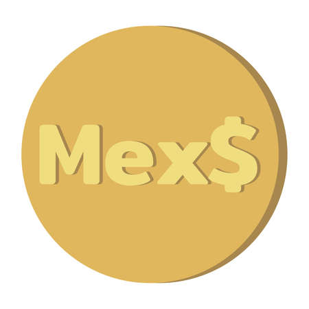 Simple Currency money symbols icon : Mexico's Mexican peso Mex$ code MXN gold coin vector illustration