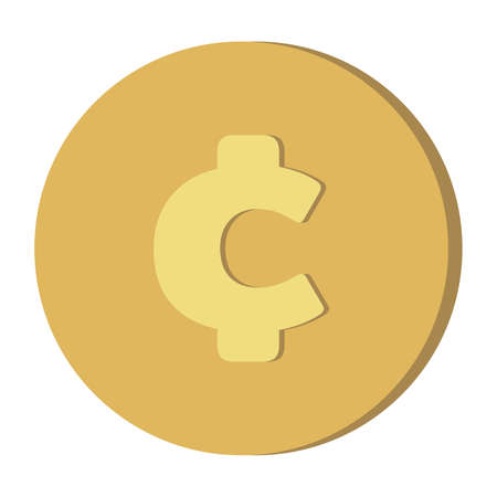 Simple Currency money symbols icon :  Global Cent ¢ gold coin vector illustration