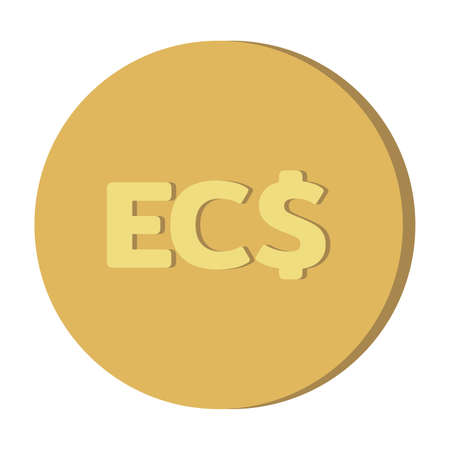 Simple Currency money symbols icon : Eastern Caribbean dollar EC$ code XCD gold coin vector illustration