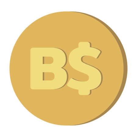 Simple Currency money symbols icon : Bahamas's Bahamian Dollar B$ code BSD gold coin vector illustration