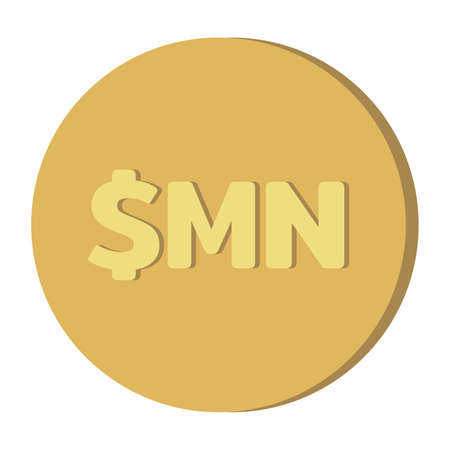Simple Currency money symbols icon : Cuba's Cuban peso $MN code CUC gold coin vector illustration