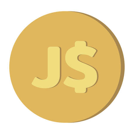 Simple Currency money symbols icon : Jamaica's Jamaican dollar J$ code JMD gold coin vector illustration 向量圖像