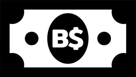 Currency icon Banknote sign in black and white frame and circles : Bahamas's Bahamian Dollar B$ code BSD bill vector illustration