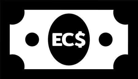 Currency icon Banknote sign in black and white and circles : Eastern Caribbean dollar EC$ code XCD bill vector illustration 向量圖像
