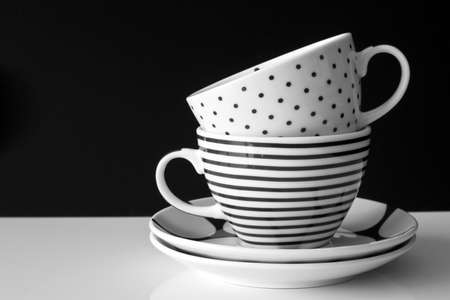 black dish: Monochrome modern cups