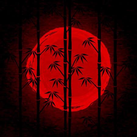 salida del sol japonesa. Negro silueta de bambú y el sol dibujo rojo. Cartel con el paisaje japonés mística. Ver throught árbol de bambú