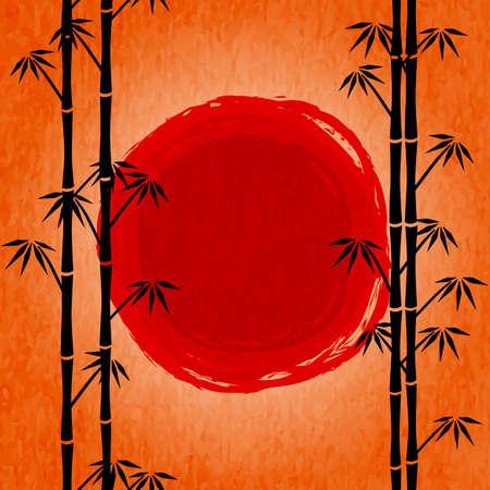 lever de soleil japonais. Silhouette noire de bambou et le soleil rouge dessin. Affiche avec le ciel orange et le paysage japonais. Voir throught arbres de bambou Vecteurs