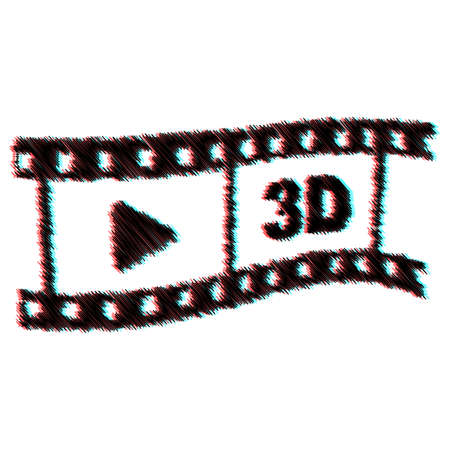 stereoscopic: Sketch video tape with stereoscopic effect Illustration